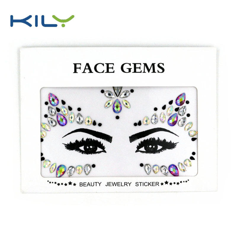Custom mermaid rainbow face jewels makeup face for Carnival KB-1084