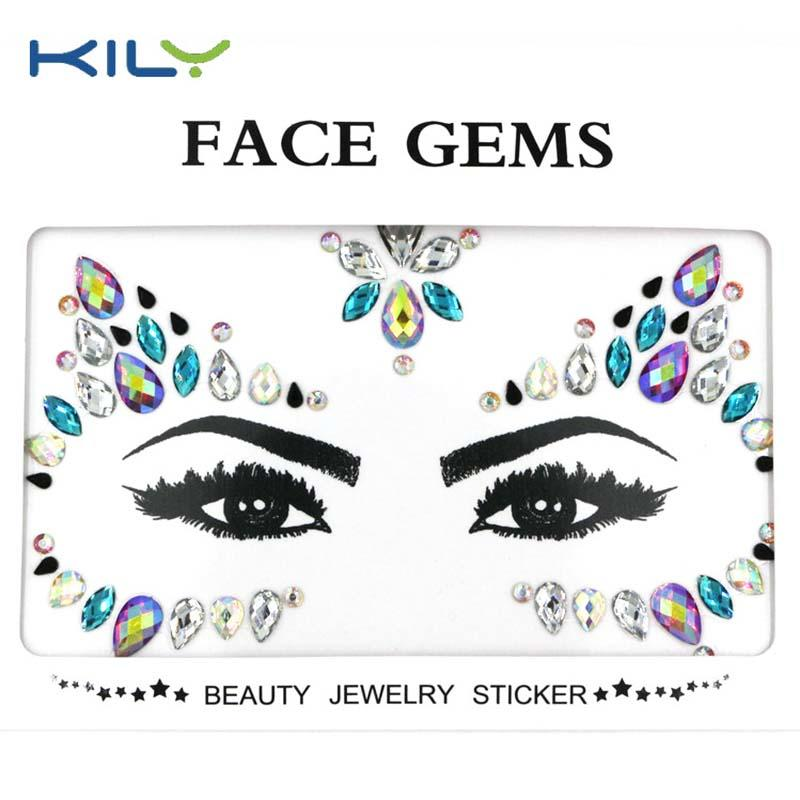 Halloween custom temporary tattoo stick face gems KB-1162