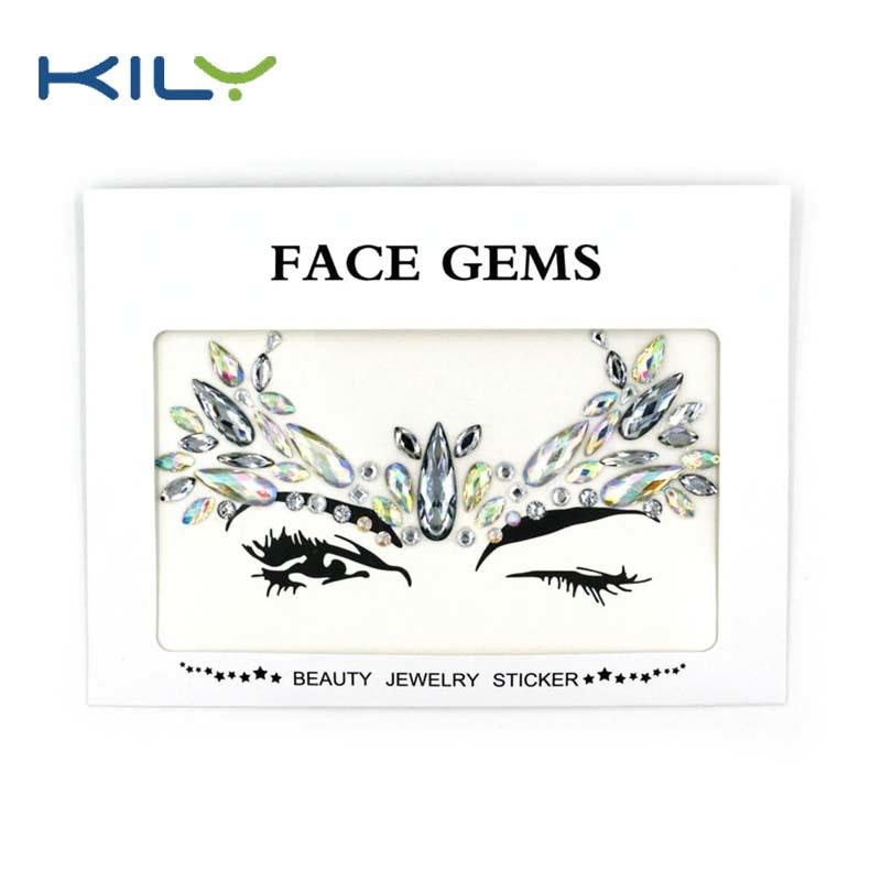 Temporary crystal face jewels sticker for music festival KB-1062