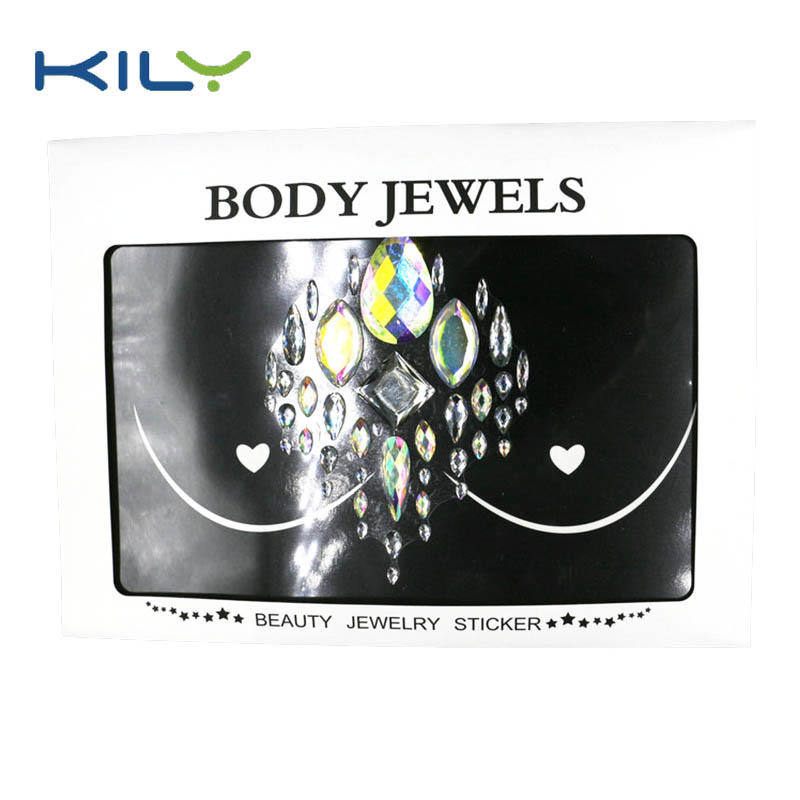 New design custom festival cosmetic chest jewels sticker KB-3001