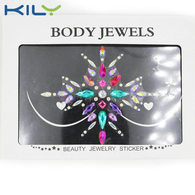 New design nipple jewels stick flower body jewels party KB-3025-1