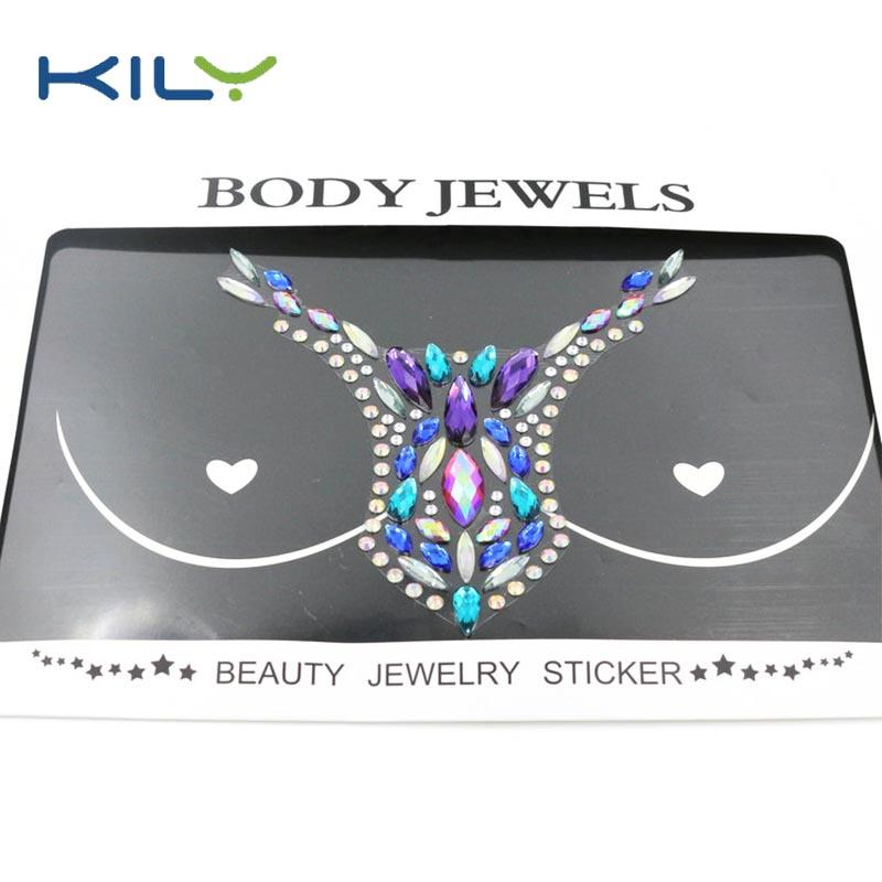 New chest jewel sticker for festival decoration boob jewels sticker KB-3027-1
