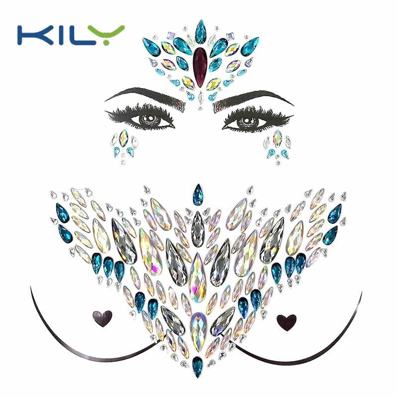 Body chest jewelry face gems decorative sticker kit KBK-1004