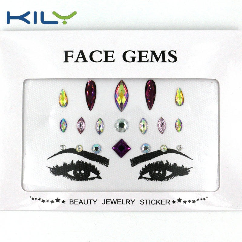 KILY DIY colorful face gems sticker individual small gems for body makeup KB-1169