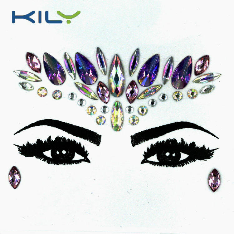 KILY high quality face gems party sticker for skin KB-1013