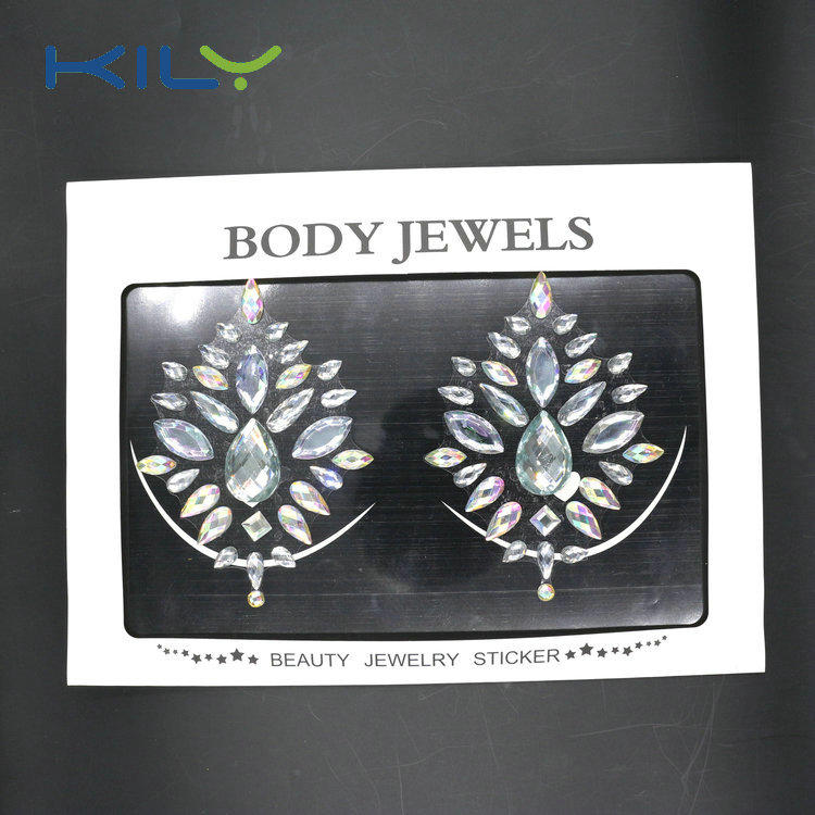 KILY Fashion Rhinestone Gems Tattoo Nipple Cover Stickers KB-3002