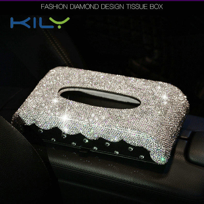 KILY Luxury Rhinestone Tissue Box Home Accessories Tissue Facial Holders CD-1012