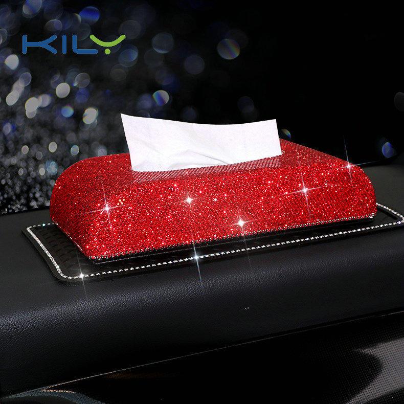 KILY High-end rhinestone tissue box car accessories paper towel holder CD-1002
