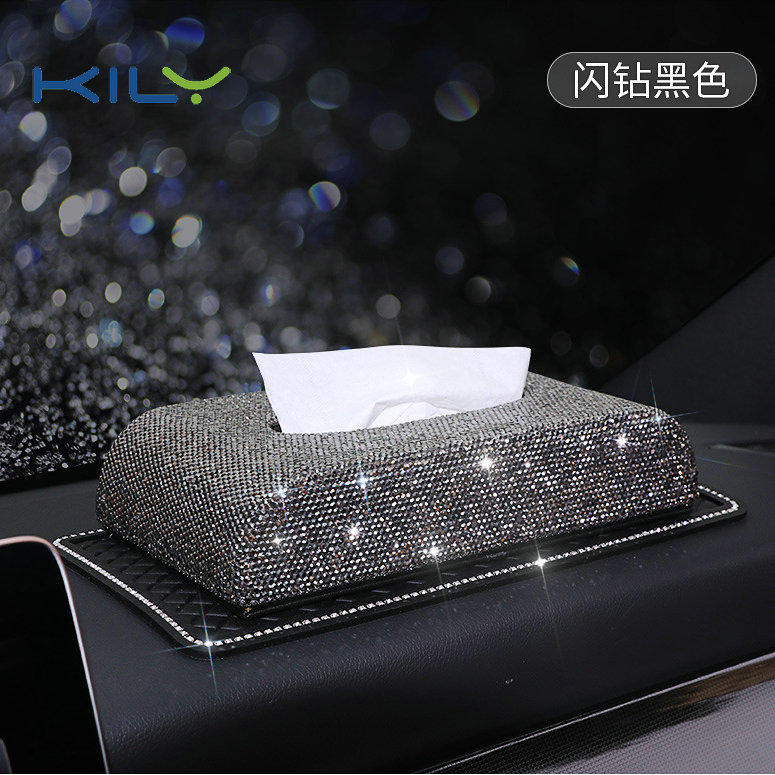 KILY High-end rhinestone tissue box car accessories paper towel holder CD-1002