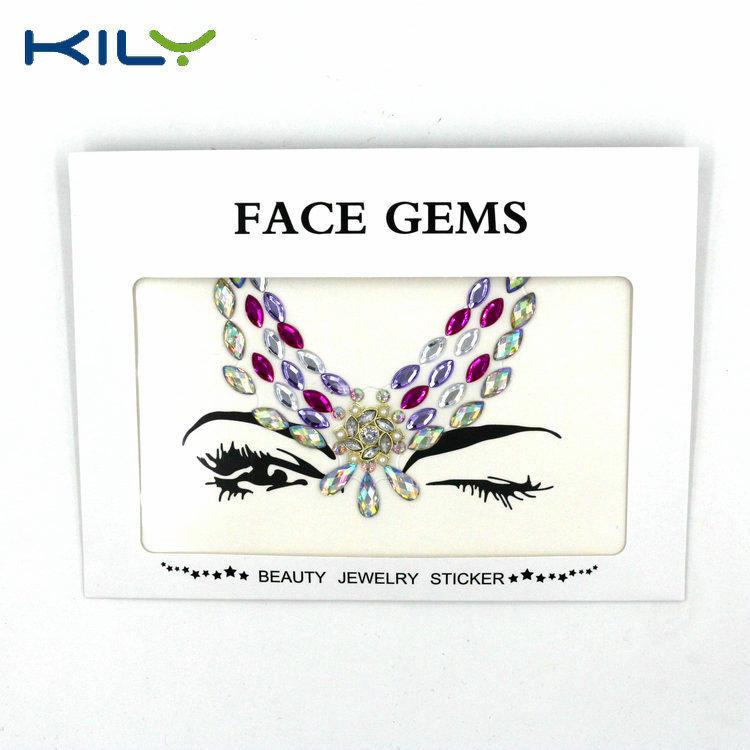 KILY Tribe Wing Design Metal Rhinestone Face Gems Festival Sticker KB-1064