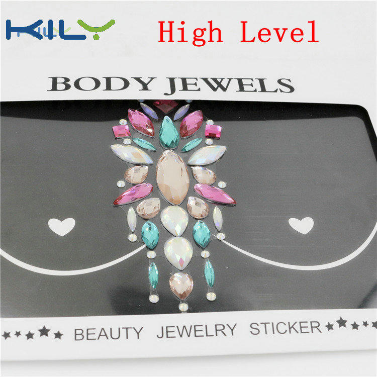 KILY Festival Chest Jewels Gemstone Breast Sticker for Party Decoration KB-3003