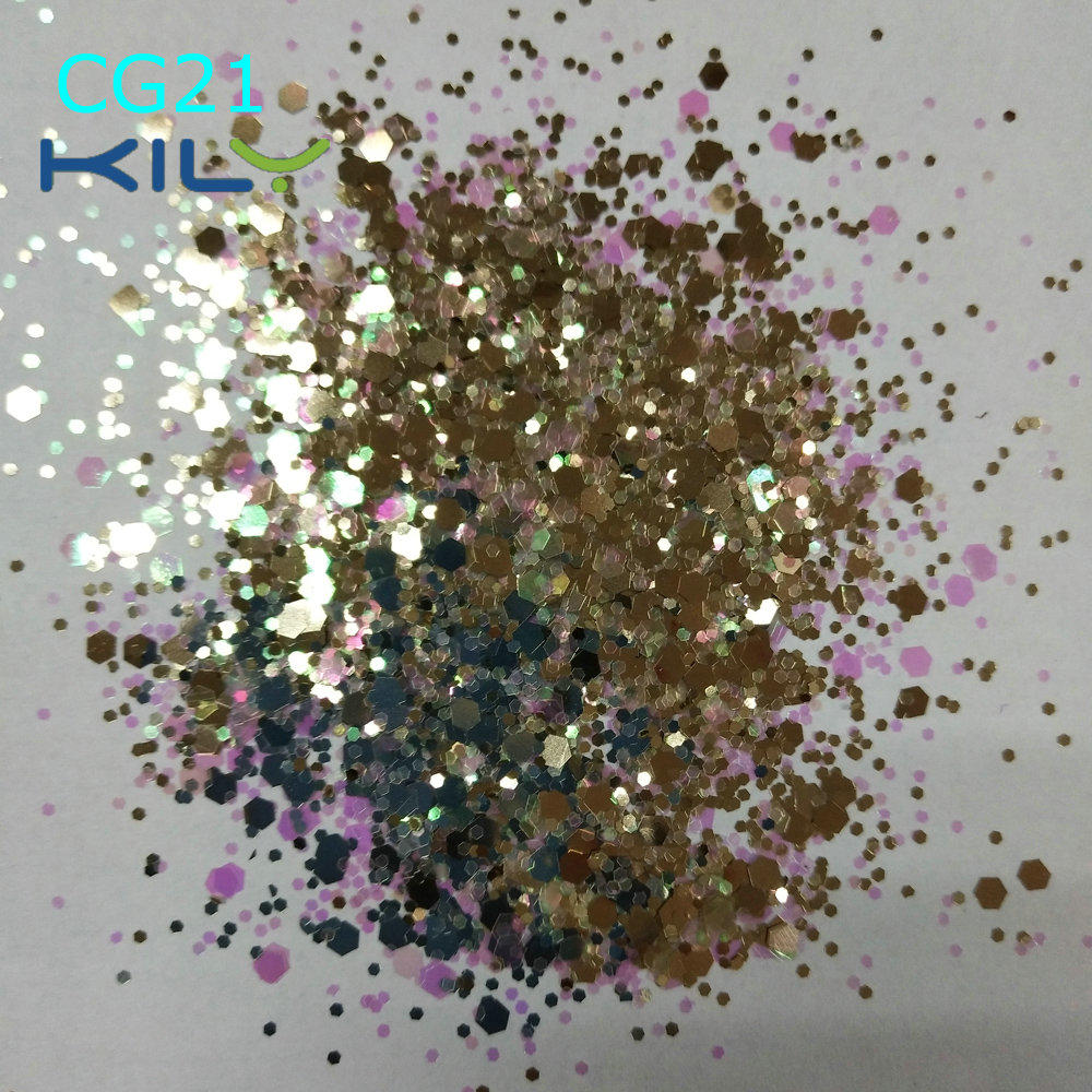 KILY Party Christmas Polyester Cosmetic Chunky Gold Glitter CG21