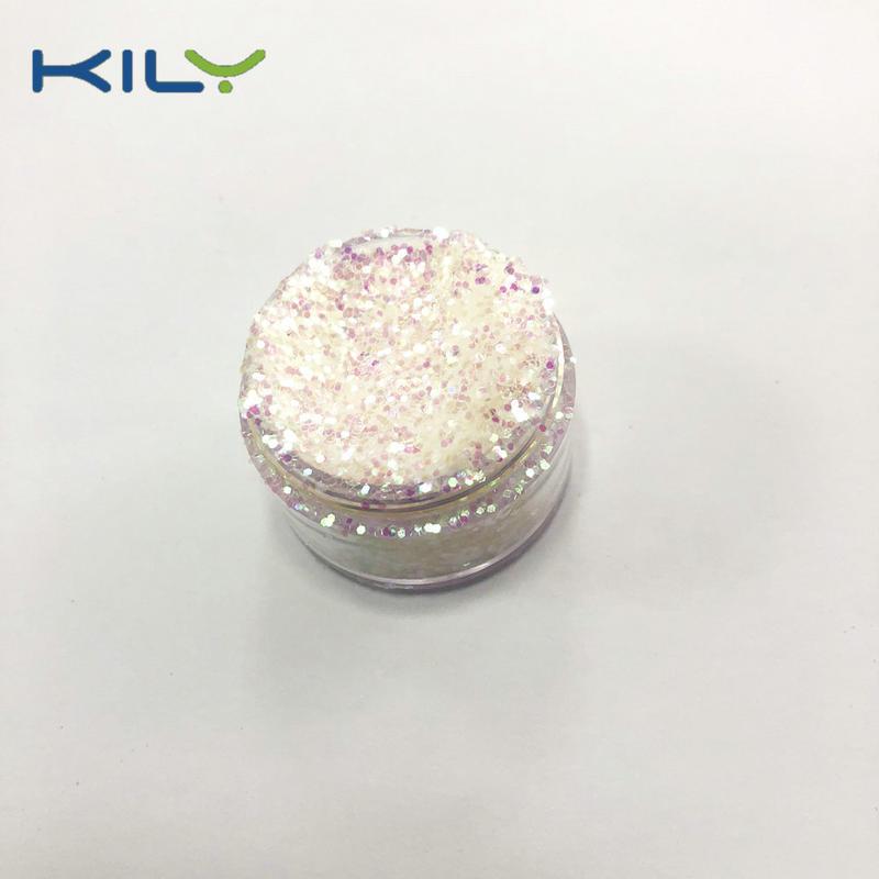 KILY Cosmetic Rainbow Glitter Iridescent White PET Glitter C03