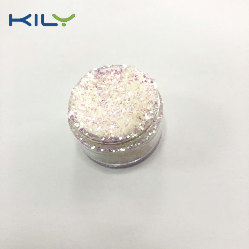 KILY Cosmetic Rainbow Glitter Iridescent White PET Glitter C03