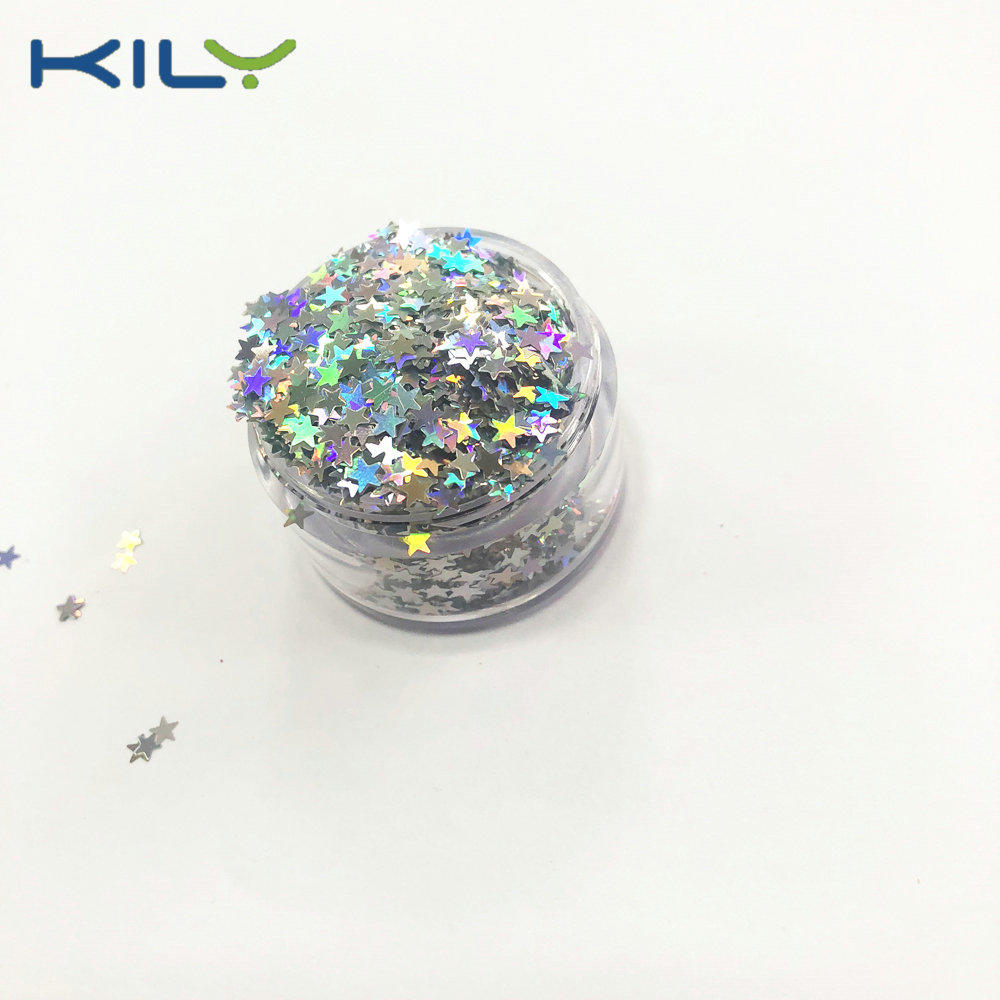 KILY DIY Nail Art Star Glitter Holographic Silver Face Glitter LB-100