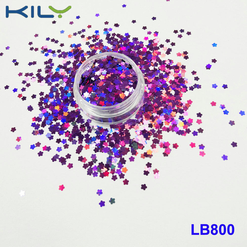 KILY Laser Purple Flower Glitter Cosmetic PET Holographic Glitter LB800