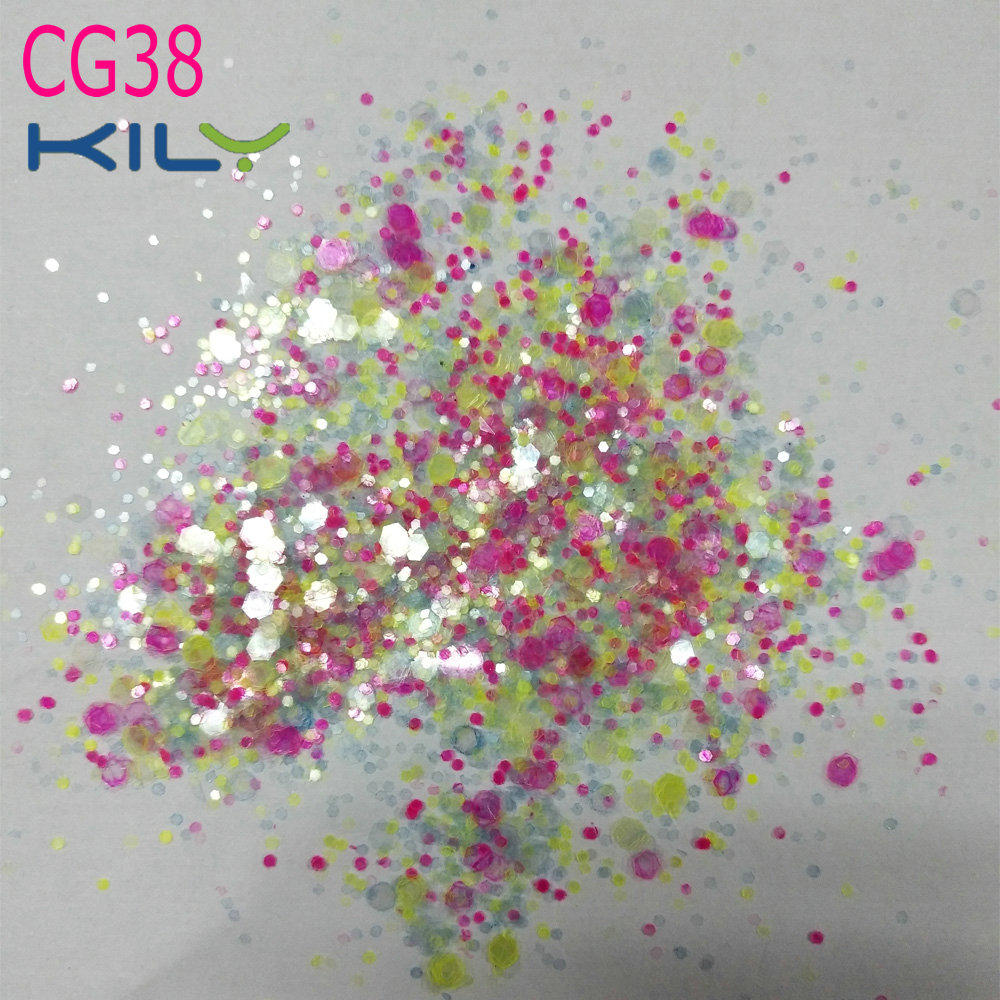 KILY Mixed Color Fine Glitter Cosmetic Chunky Glitter for Body CG38