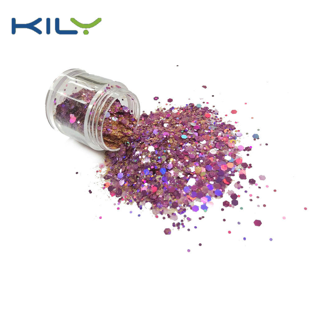 KILY Polyester Glitter Rose Gold Variety Mix Chunky & Fine Glitters CG41