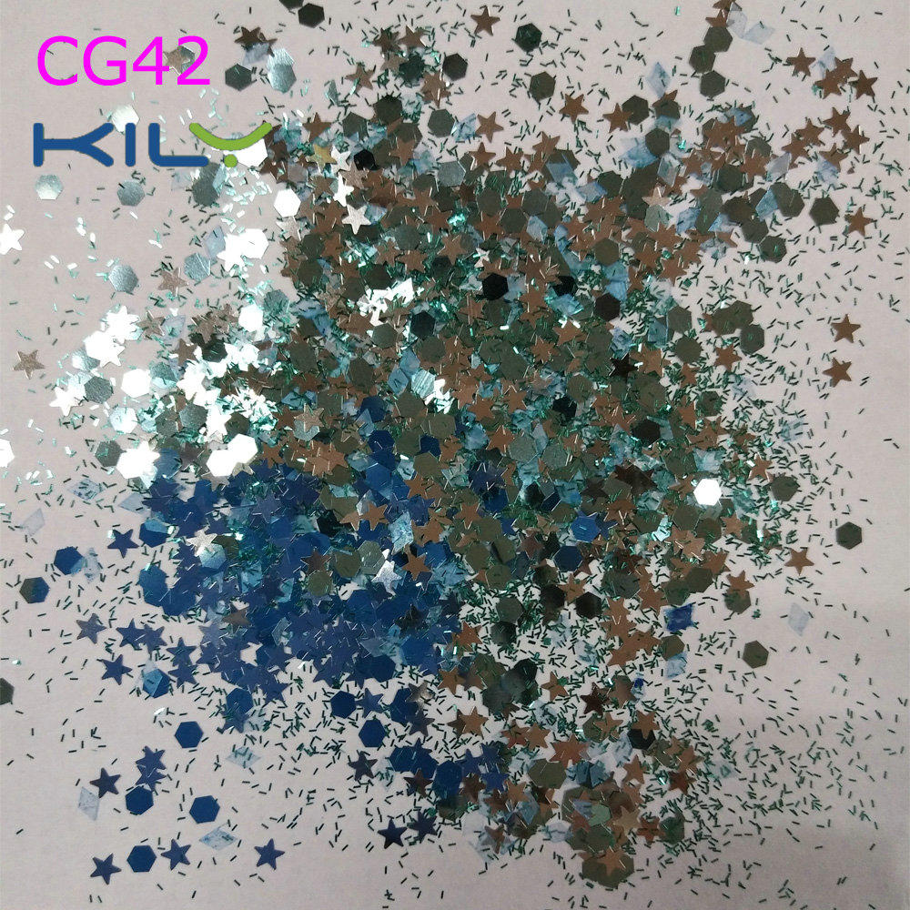 KILY Mixed Diamond Tinsel and Stars Glitter Chunky Fine Glitter for Party CG42
