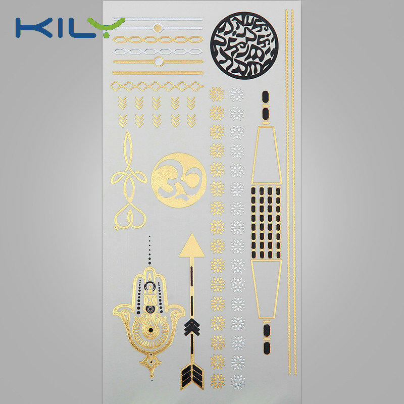 KILY Cosmetic Body Tattoo Gold Metallic Water Transfer Tattoo for Body