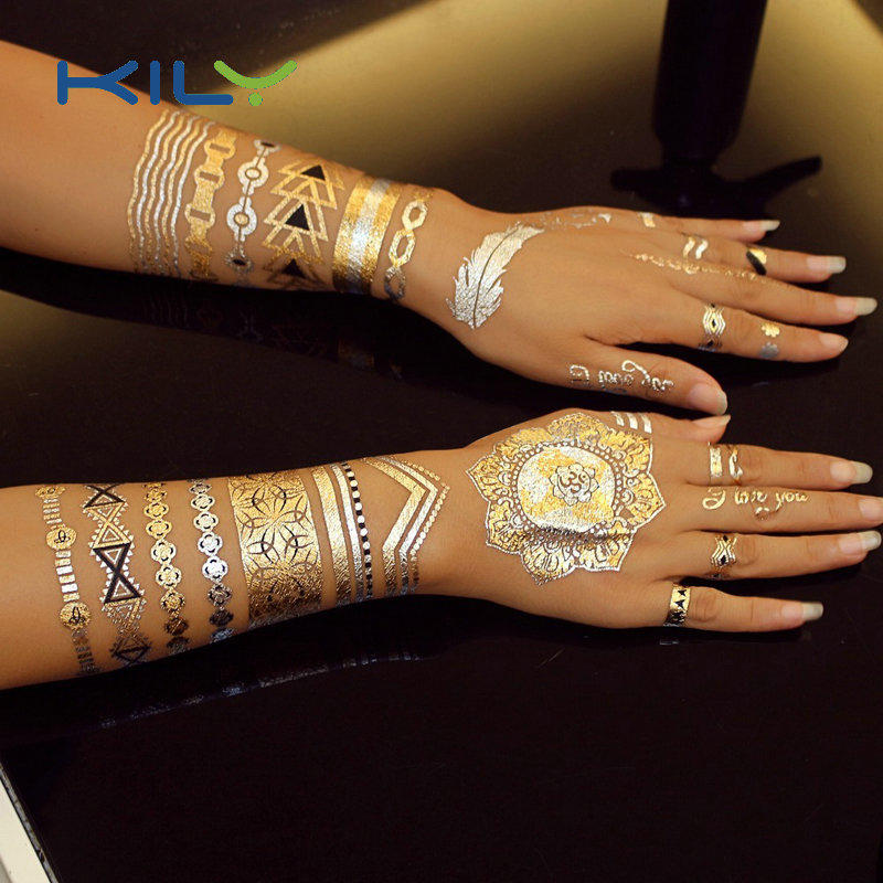 KILY Non-toxic tattoo sticker gold metallic temporary sticker for party