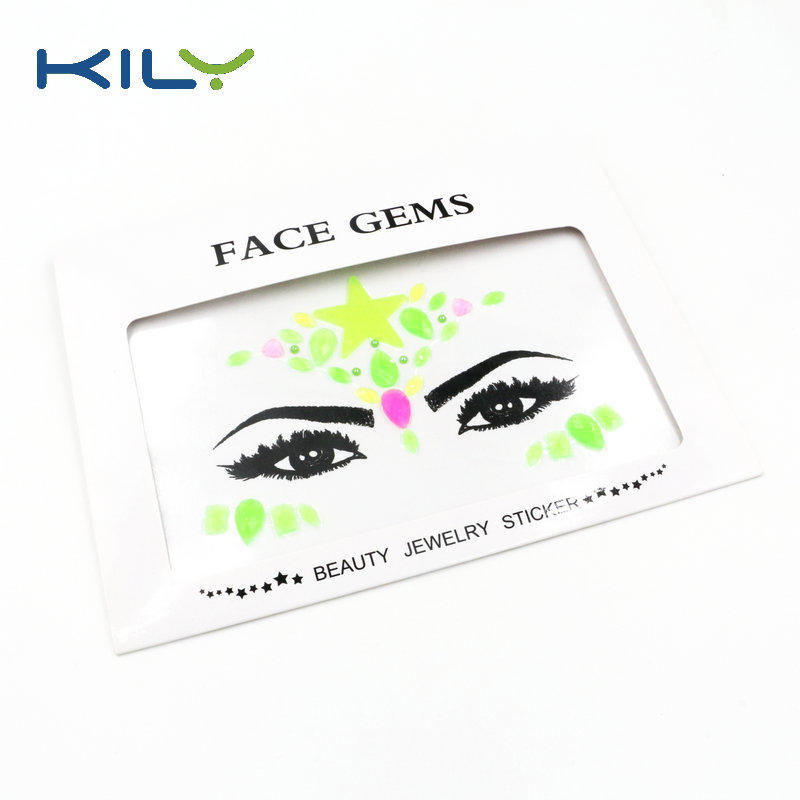 KILY UV Face Gems Sticker Glow in Dark Face Jewels for Party KB-2201