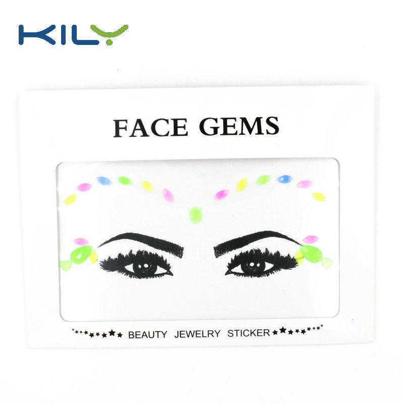 KILY Glow in Dark Face Gems Sticker for Evening Party