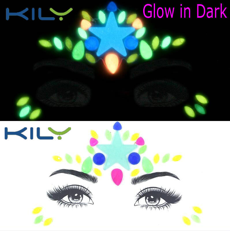 KILY UV Face Gems Halloween Rhinestone Sticker Glow in Dark KB-2202