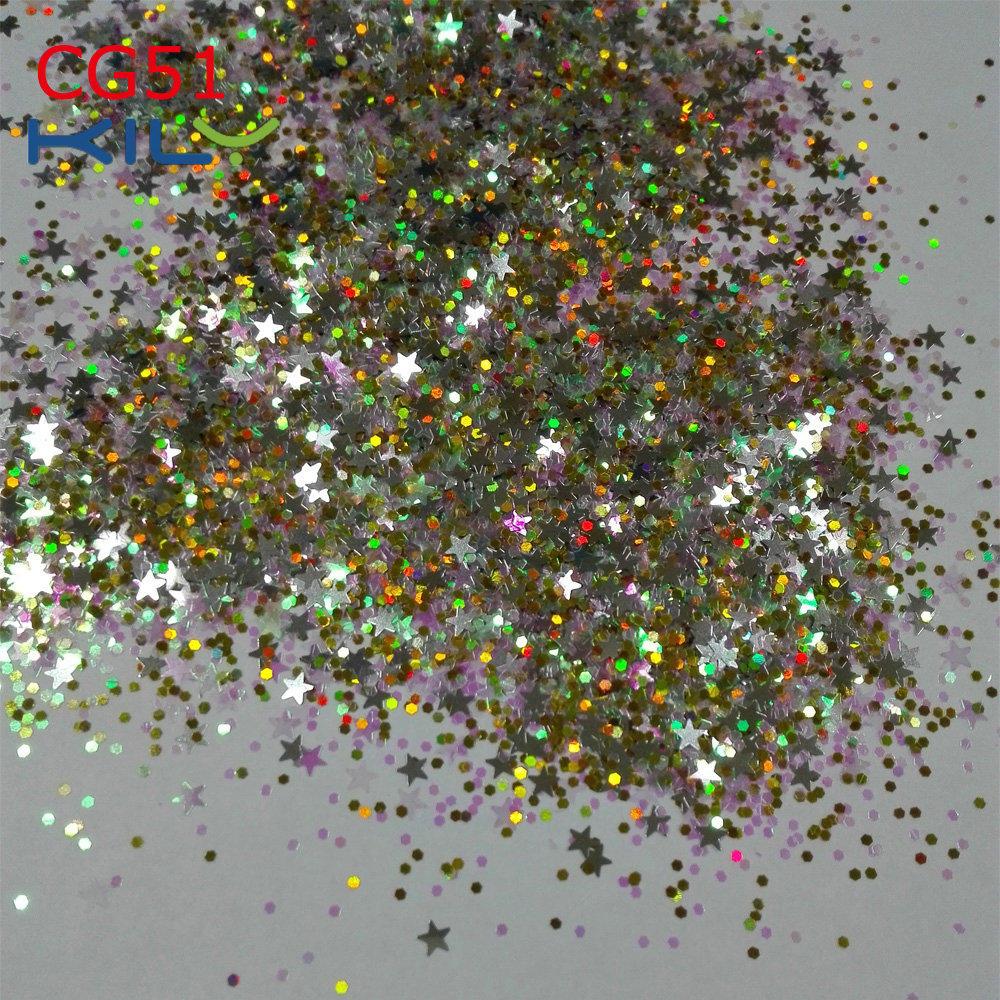 KILY Bulk Glitter Polyester Glitter Stars Chunky Glitter for Shadow CG51
