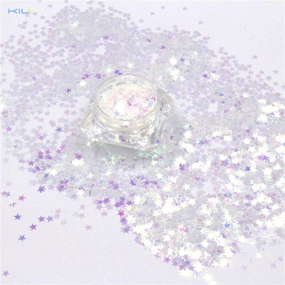 KILY Iridescent Cosmetic Glitter Rainbow Stars Glitter for Eyes and Lips C03