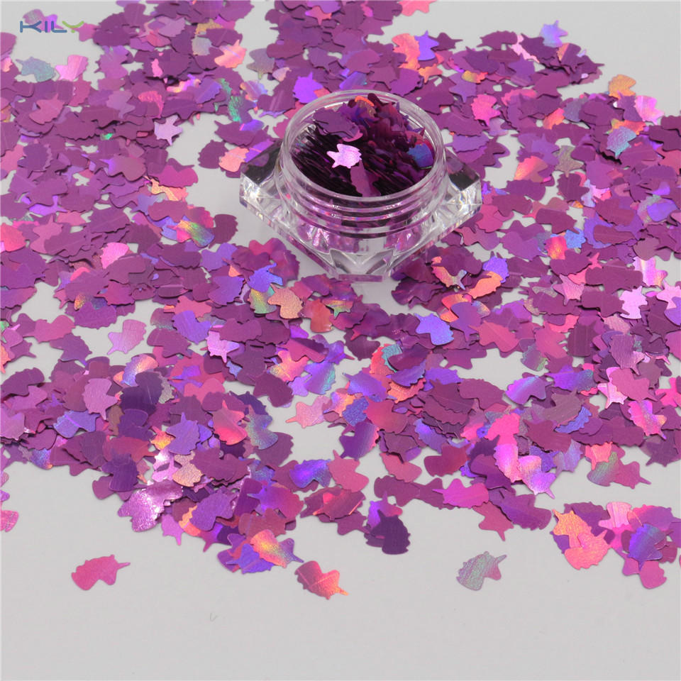 KILY Unicorn Polyester Glitter Shaped Holographic Cosmetic Glitter for Halloween LB901