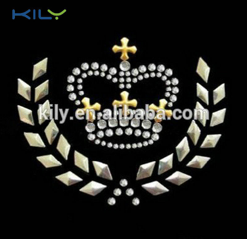 Crown Hot fix rhinestone transfer nail-head iron on motif KH-1008