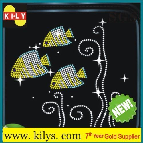 Rhinestone Transfer Fish Iron on Shirt back glue rhinestone KH-1009