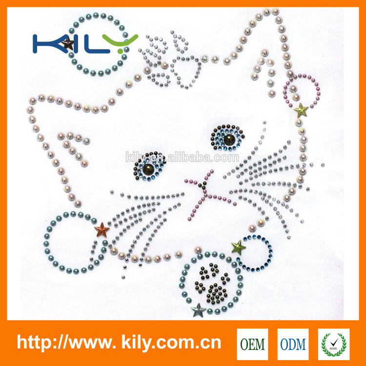 Cat rhinestone heat transfer nail-head hot fix motif for fabric KH-1006