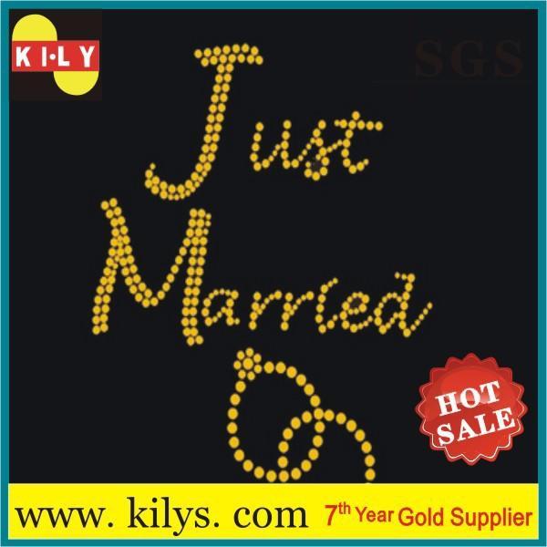 Custom Bride Hot fix rhinestone transfer Wedding rings motif for pillow KB-1005