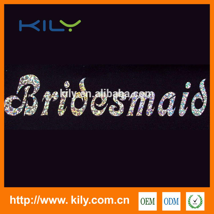 Custom Bride Hot fix rhinestone transfer Wedding rings motif for pillow KB-1005