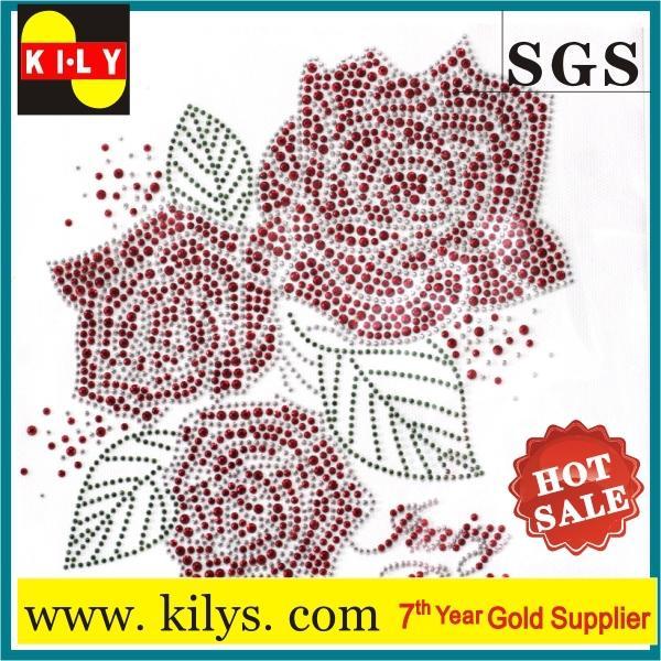 Flower Hot fix rhinestone transfer glass crystal iron on garment KH-1010