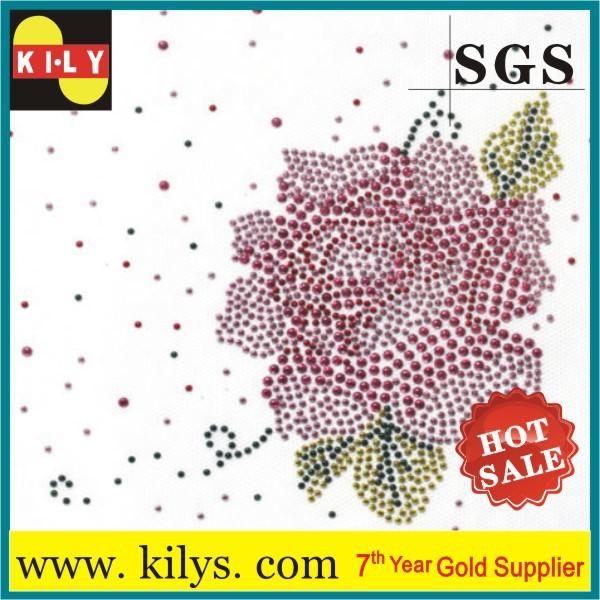 Flower Hot fix rhinestone transfer glass crystal iron on garment KH-1010