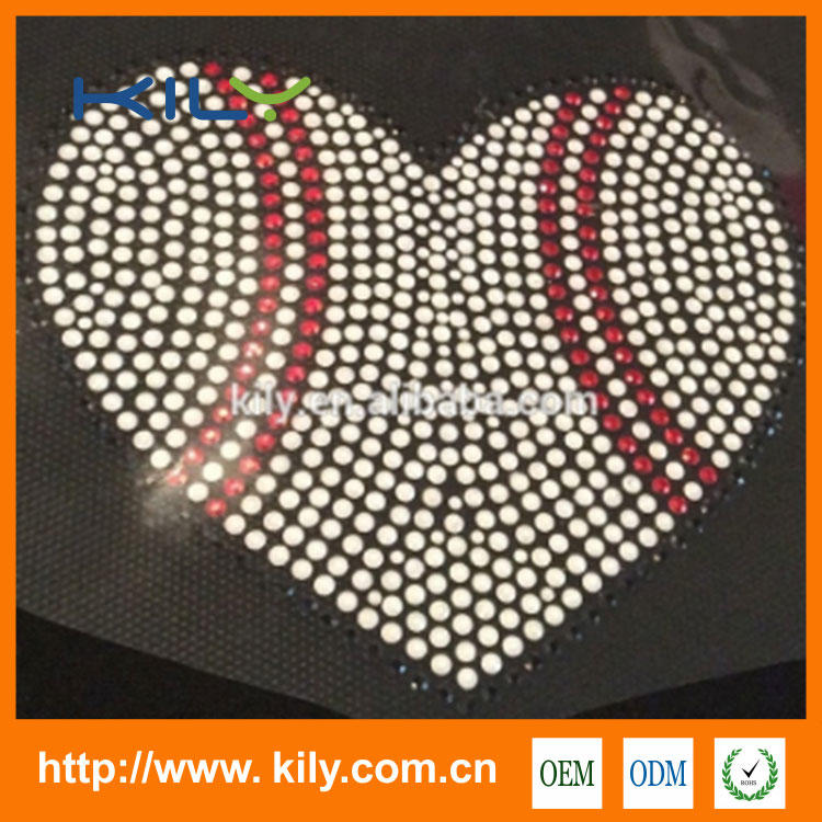 Heart Football rhinestone transfer back glue crystal motif for clothes KH-1012