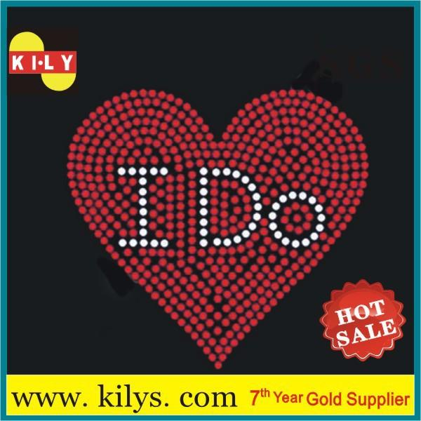 Heart iron on rhinestone transfer hot fix heart motif for hooded KH-1014