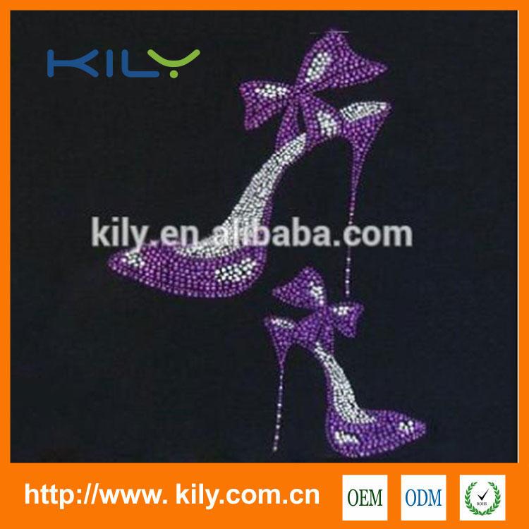 High Heels Rhinestone Transfer Crystal Heat Motif for Fabric KB-1017