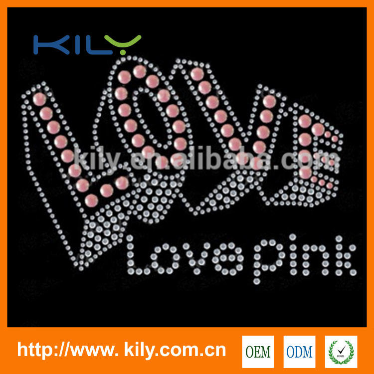 Wedding Love Transfer I DO hot fix rhinestone motif for fabric KH-1020