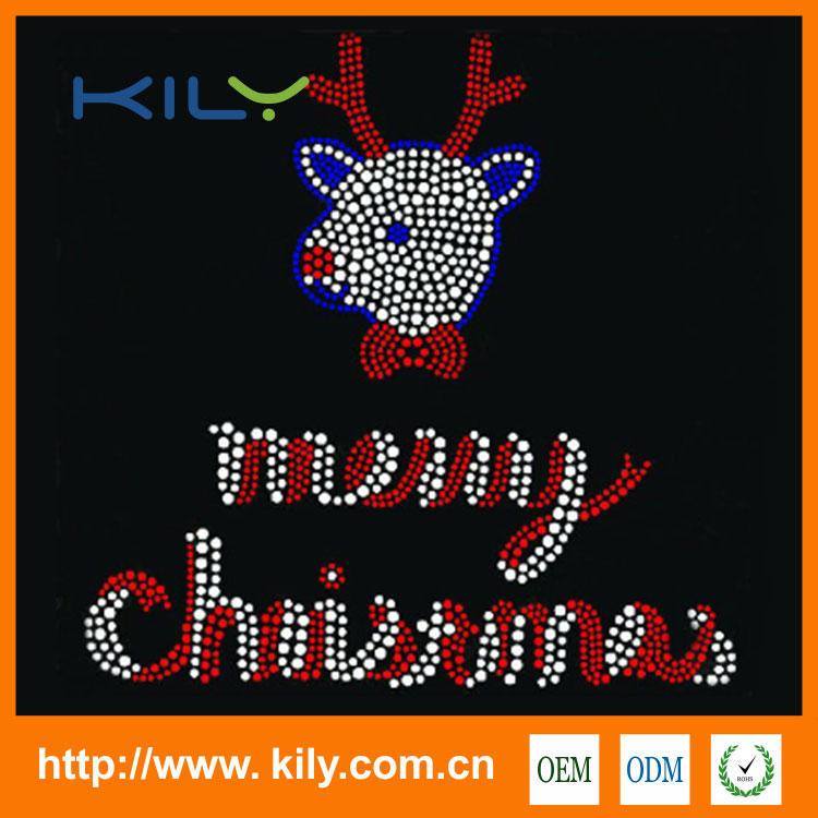 Merry Christmas Hot Fix Motif Santa Rhinestone Transfer for Cloths KH-1027
