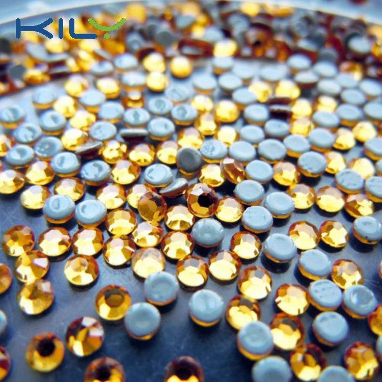 SS6 Gold rhinestone hot fix glass stone for transfer