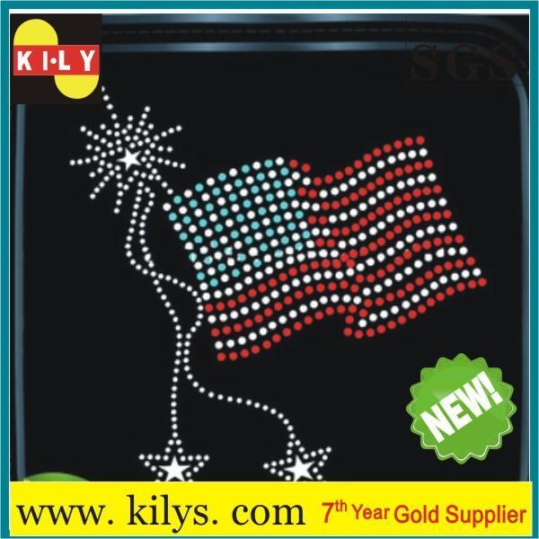 USA rhinestone pattern hot fix transfer motif