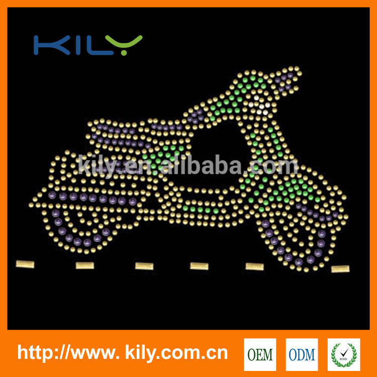 Motorcycle rhinestone transfer locomotive hot fix motif for Hoodie