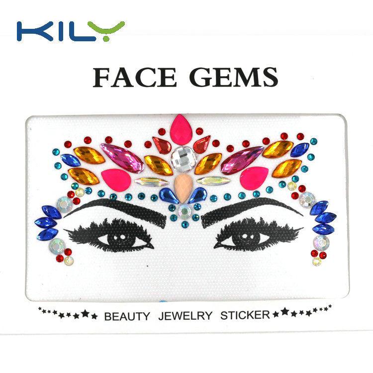 Woman mermaid face gems sticker rhinestone for festival KB-1147