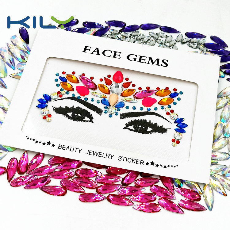 Woman mermaid face gems sticker rhinestone for festival KB-1147