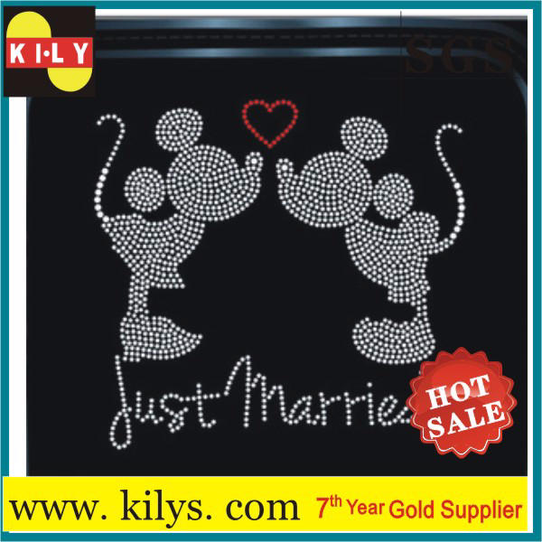 Mickey Just Married rhinestone motif hot fix stone transfer for pillow