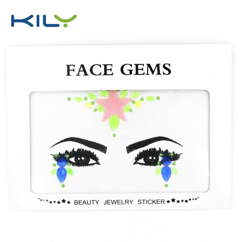 Glow in dark face gems sticker UV body jewels for Halloween KB-2203